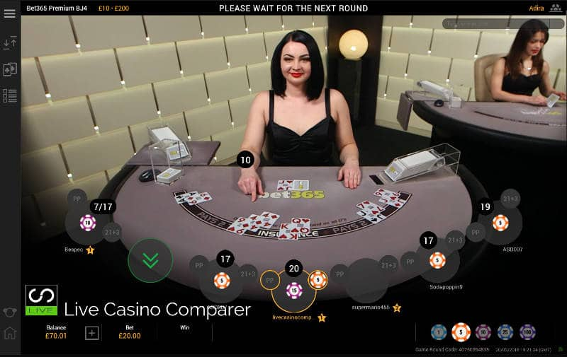 Live Blackjack side bet win - Straight Flush at Bet365