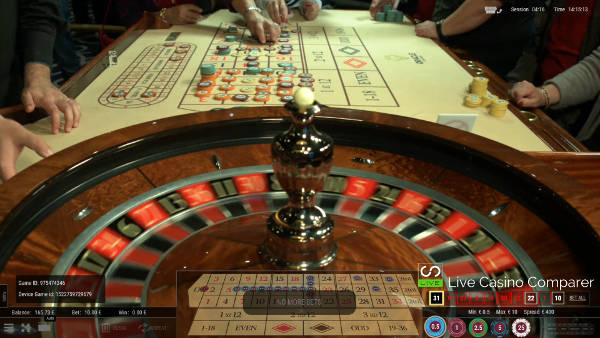 Down the table view of roulette 360