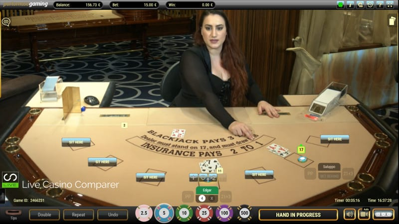 portomaso oracle live blackjack dealer in full screen