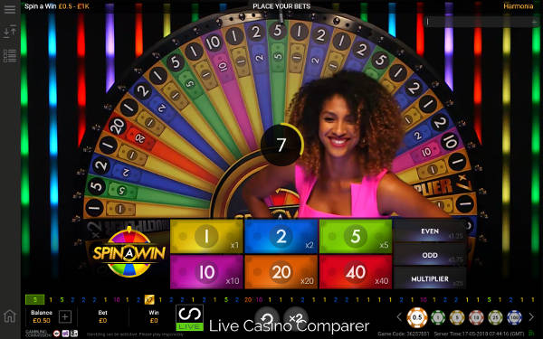 Harmonia presenter on playtech live spin a win