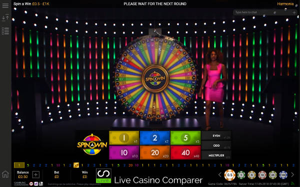 playtech live spin a win long view of the wheel