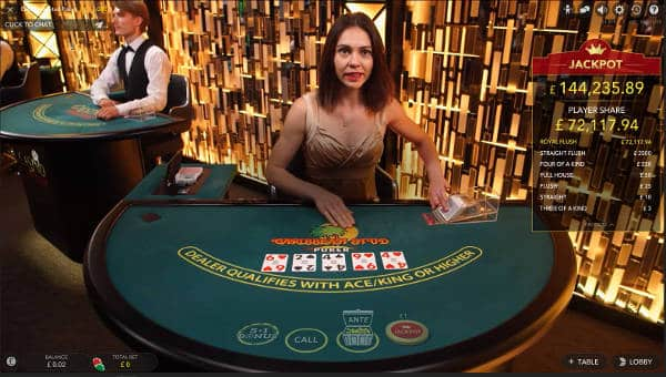 caribbean Stud Poker with progressive Jackpot