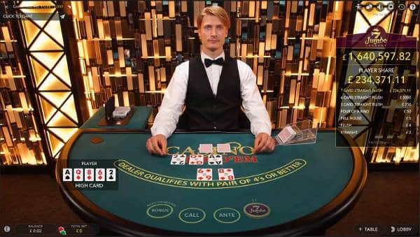 Casino Hold'em with progressive Jackpot