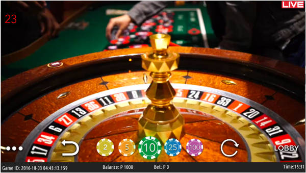 view of the wheel on live foxwoods roulette