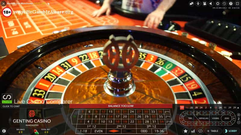 Genting Live Roulette Manchester wheel and table