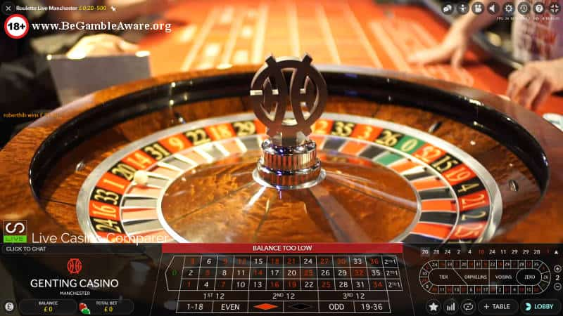 Genting Live Roulette Manchester wheel