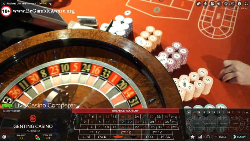 Genting Live Roulette Manchester with chips