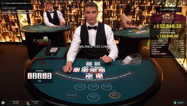 Texas Holdem Bonus Poker with progressive Jackpot