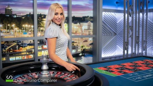 Finnish roulette female dealer at table