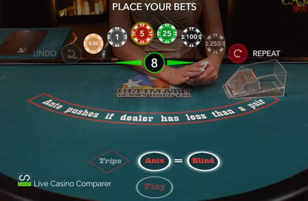 evolution live ultimate texas hold'em betting