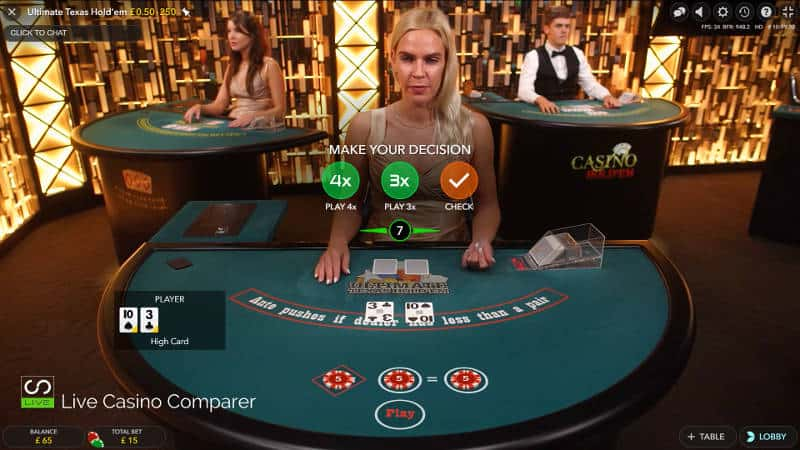 evolution live ultimate texas hold'em 1st betting decision