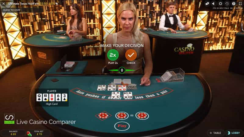 evolution live ultimate texas hold'em 2nd betting position