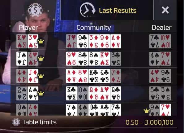hand history for ezugi live casino holdem