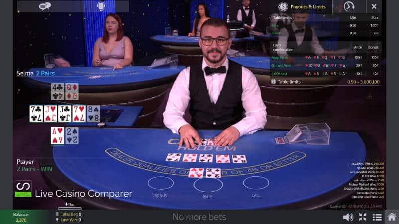 Ezugi Live Casino Holdem