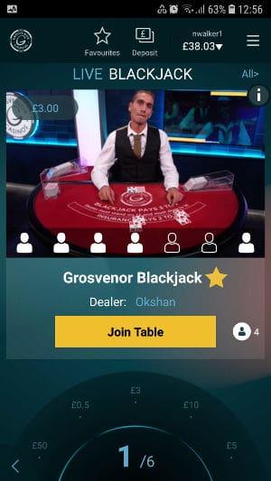 grosvenor live casino app blackjack selection