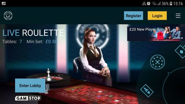 grosvenor live casino app homepage