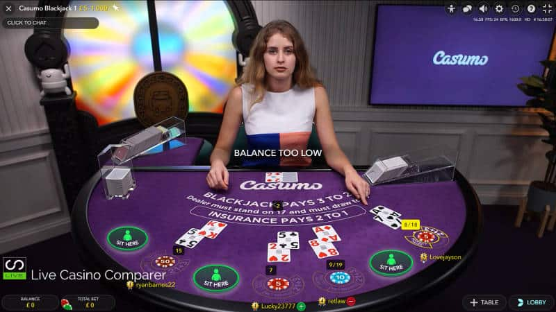casumo dedicated live blackjack