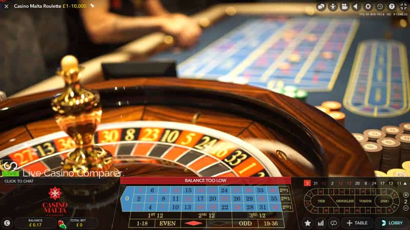 casino malta roulette down the table view