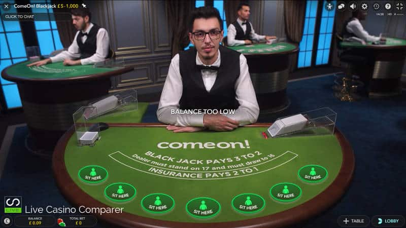 comeon dedicated blackjack table