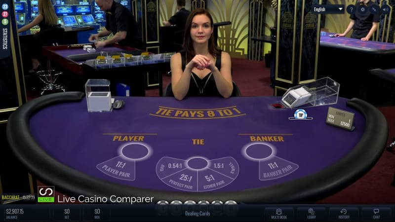 lucky streak live baccarat single player view