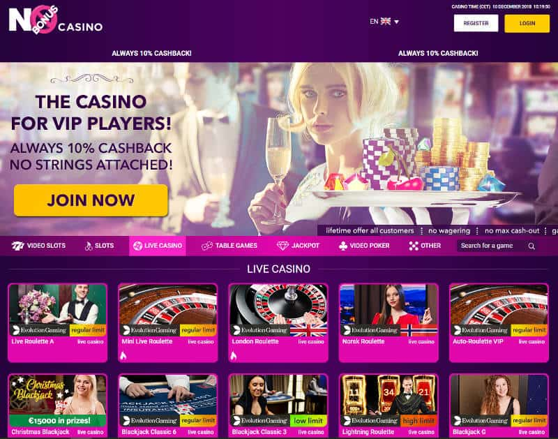 no bonus live casino