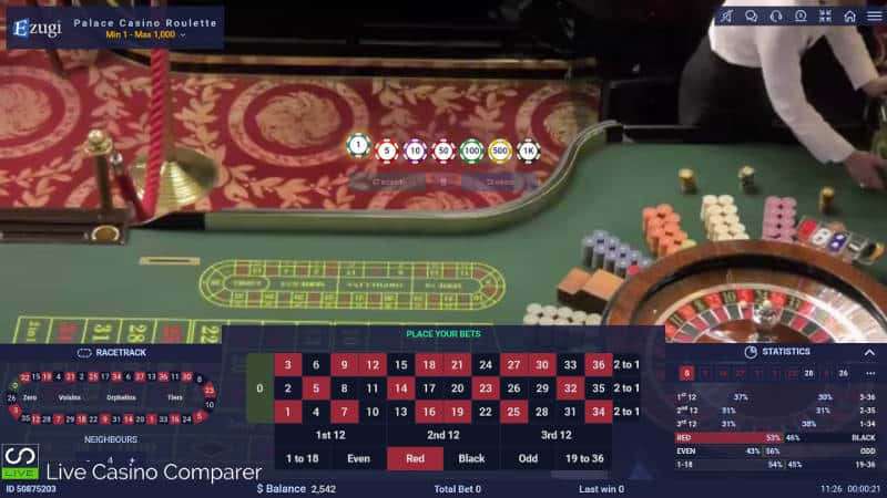 ezugi live dealer roulette from palace casino