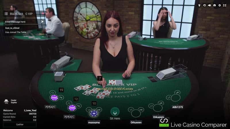 blackjack table at betconstruct