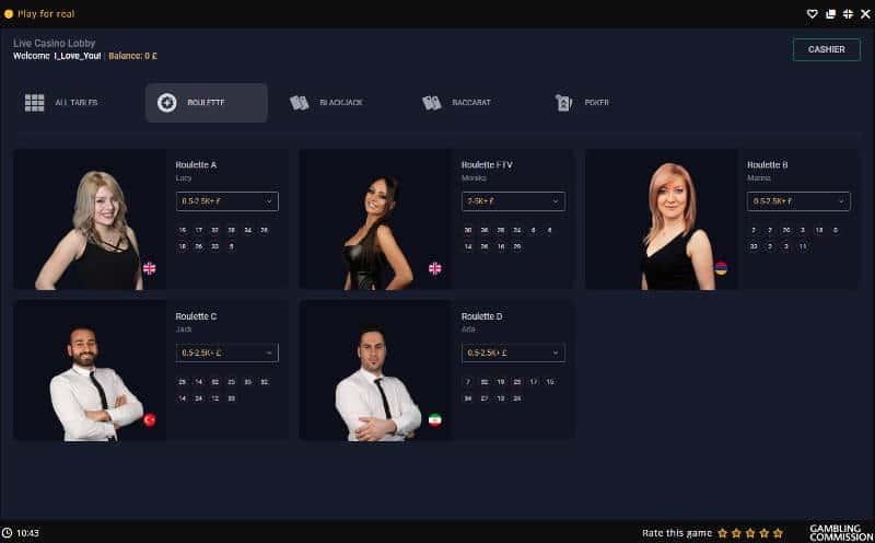 betconstruct live roulette lobby