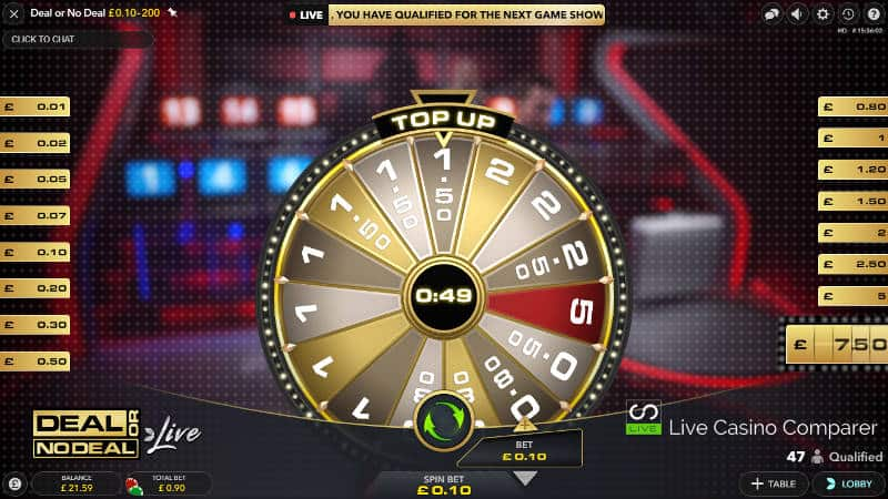 deal or no deal live box top up