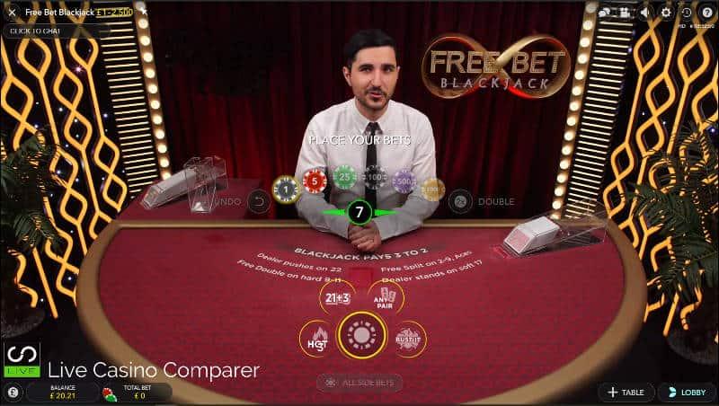 Desktop user Interface for free bet blackjack