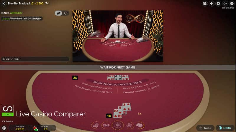 mixed user interface for free bet blackjack
