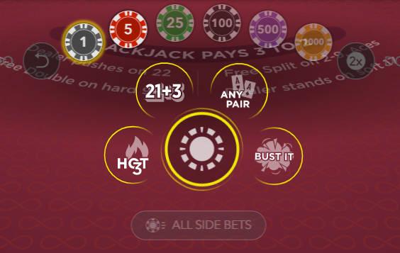 free bet blackjack side bets