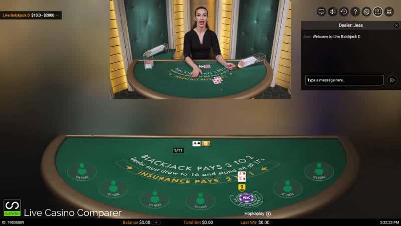 Classic view of the Pragmatic Live Casino Blackjack Table
