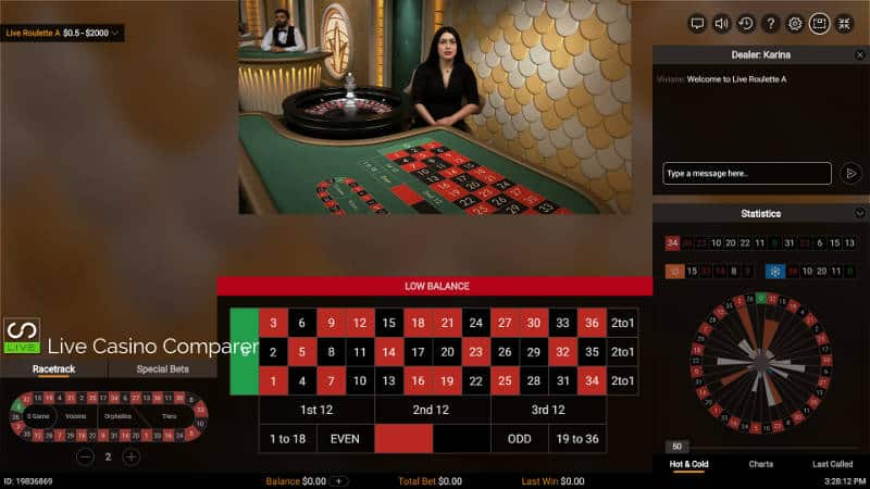 classic view of pragmatic live casino roulette table