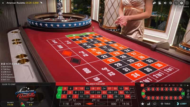american roulette live dealer table