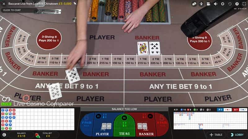 gentingbet live baccarat overhead view