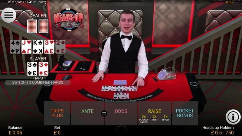landscape mobile view of heads up holdem