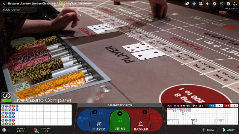 gentingbet live baccarat side view