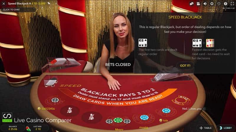 speed blackjack dealer