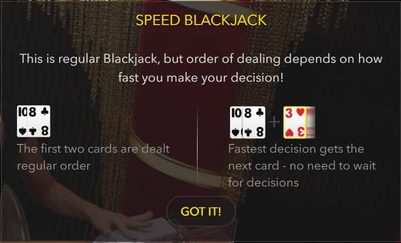 speed blackjack rules