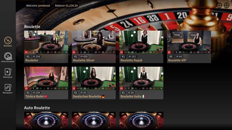 Netent Live Casino Lobby