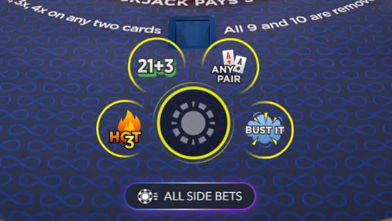 Placing bets on Power Blackjack