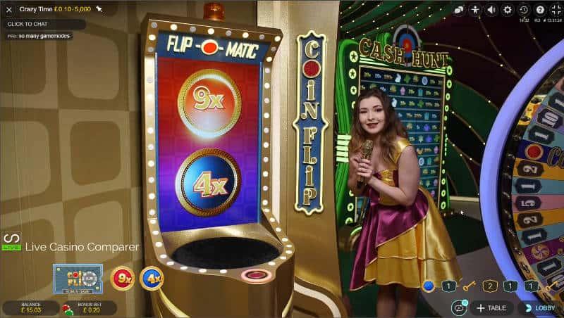 crazy time coin flip bonus round