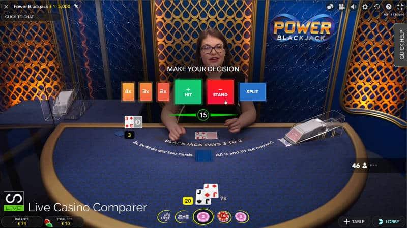 Decision time on power blackjack