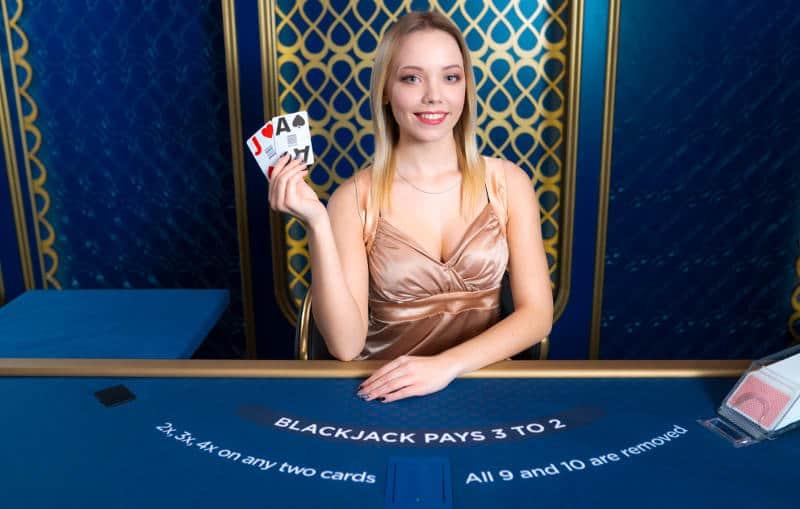 power blackjack dealer holding a blackjack