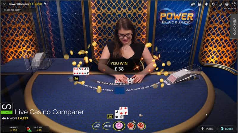 Delaer loses at Evolution Power Blackjack