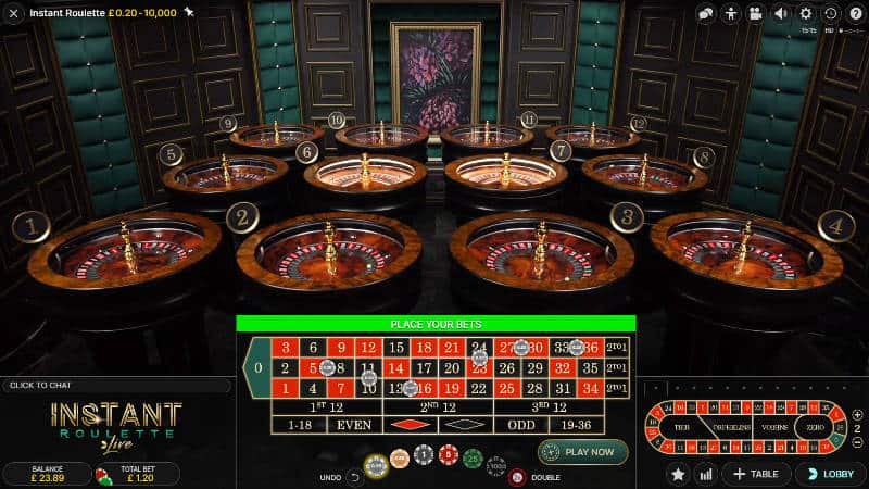 instant roulette betting grid