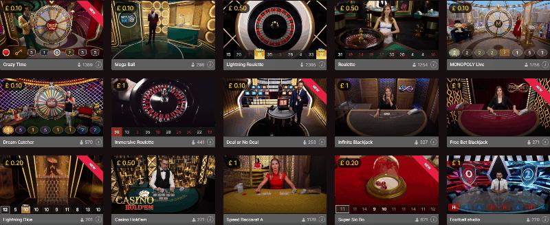 popular rtp live casino games