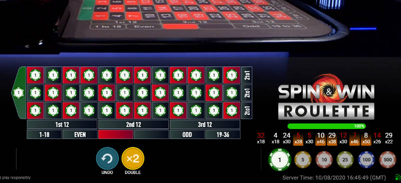 all bets on spin & Win Roulette