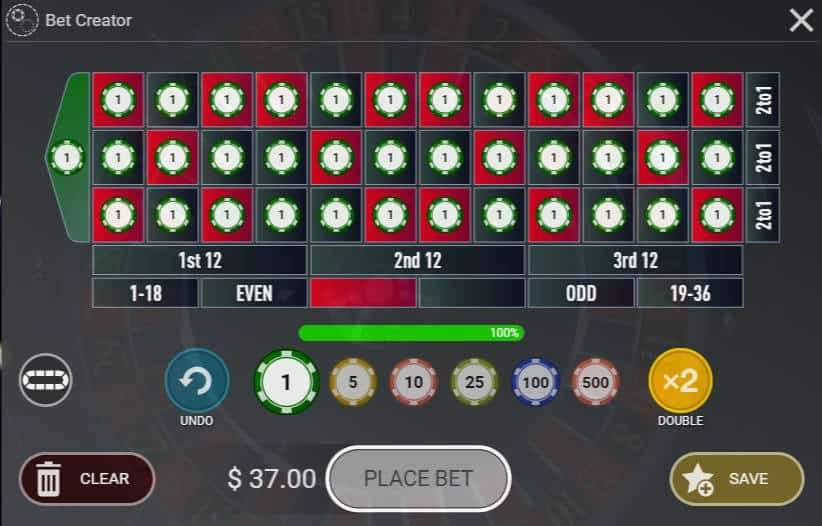 betbuilder on spin & Win roulette